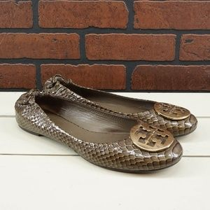 TORY BURCH Reva Flats in Patent Snakeskin Size 9
